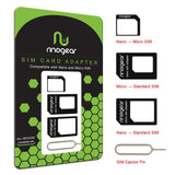 [4 in 1] Nano & Micro SIM Card Adapter Kit by RinoGear Converter (Nano / Micro / Standard) + Removal Tool