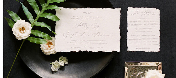 Garden Inspired Deckled Edge Wedding Invitations : Wave Hill Botanical Gardens