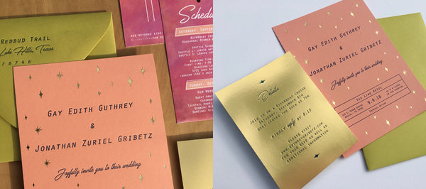 Gold Star Letterpress Wedding Invitations