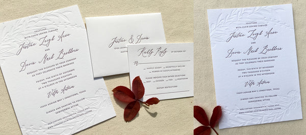 Letterpress Blind Deboss Wedding Invitation