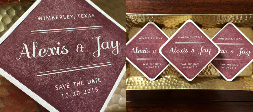 Letterpress Save The Date Coasters