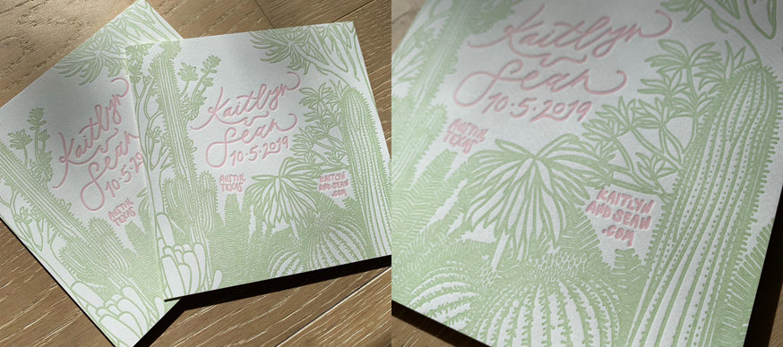 Cactus-themed Letterpress Save the Date
