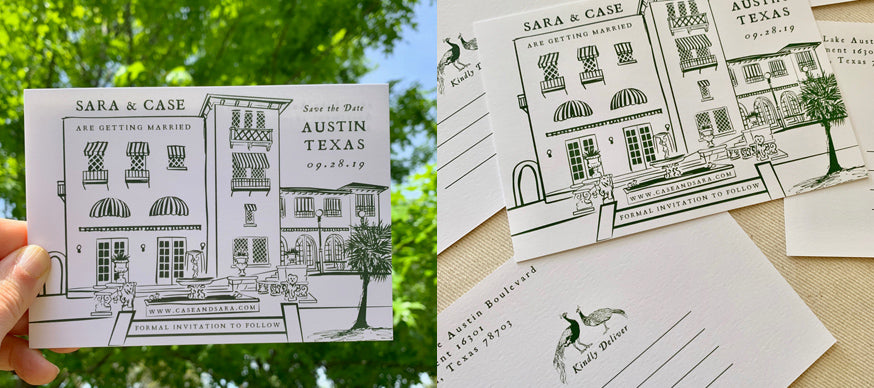 Letterpress Save the Date with Illustration