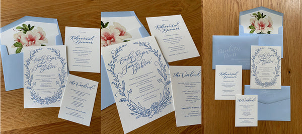 Letterpress and White Ink Wedding Invitation Suite