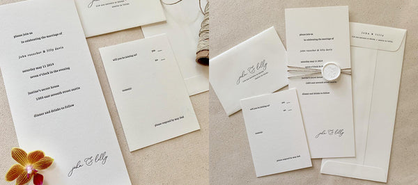 4x9 Letterpress Wedding Invitations with Wax Seal
