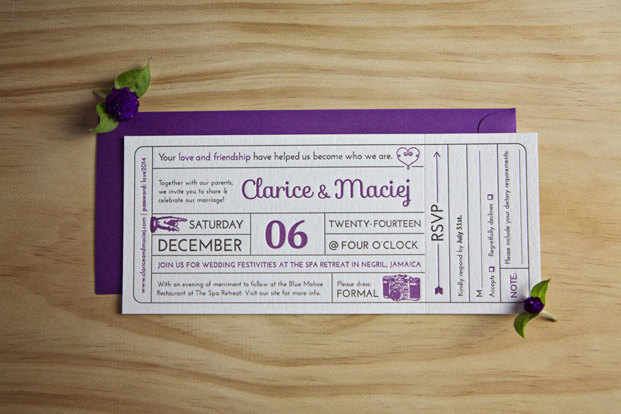 Airplane Ticket Letterpress Wedding Invitation  Airplane Ticket Invitations
