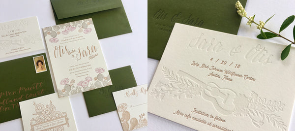 Things We Love Letterpress Wedding Invitation Suite And Letterpress Save the Date