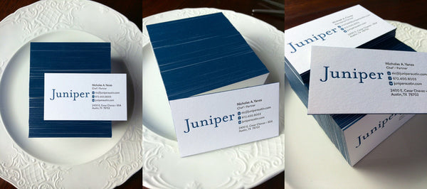 Edge Painted Letterpress Business Cards for Austin Restaurant