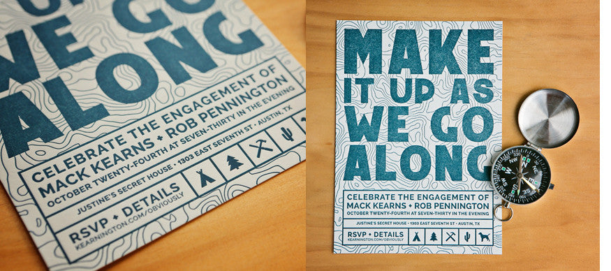 Map-themed Letterpress Engagement Announcement