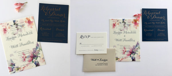 Letterpress Wedding Invitation & Letterpress Rehearsal Dinner Invitation
