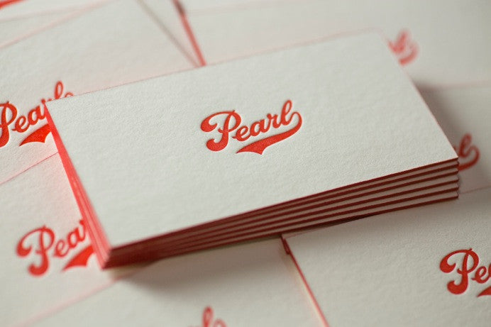 Pearl Brewery Edge Painted Letterpress Business Cards - Percolator