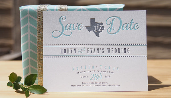 Letterpress Save the Dates designed by Alisa Marrow