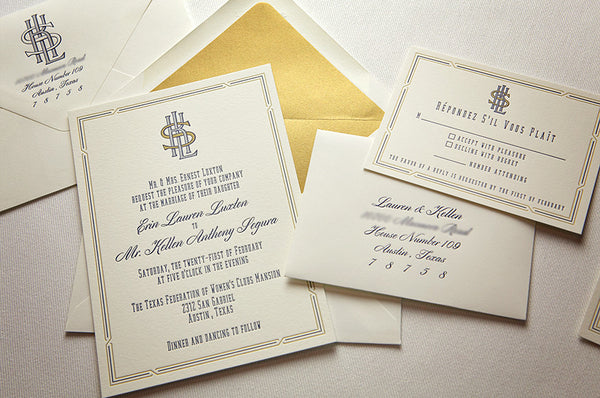 Elegant design for Letterpress Wedding Invitation Suite