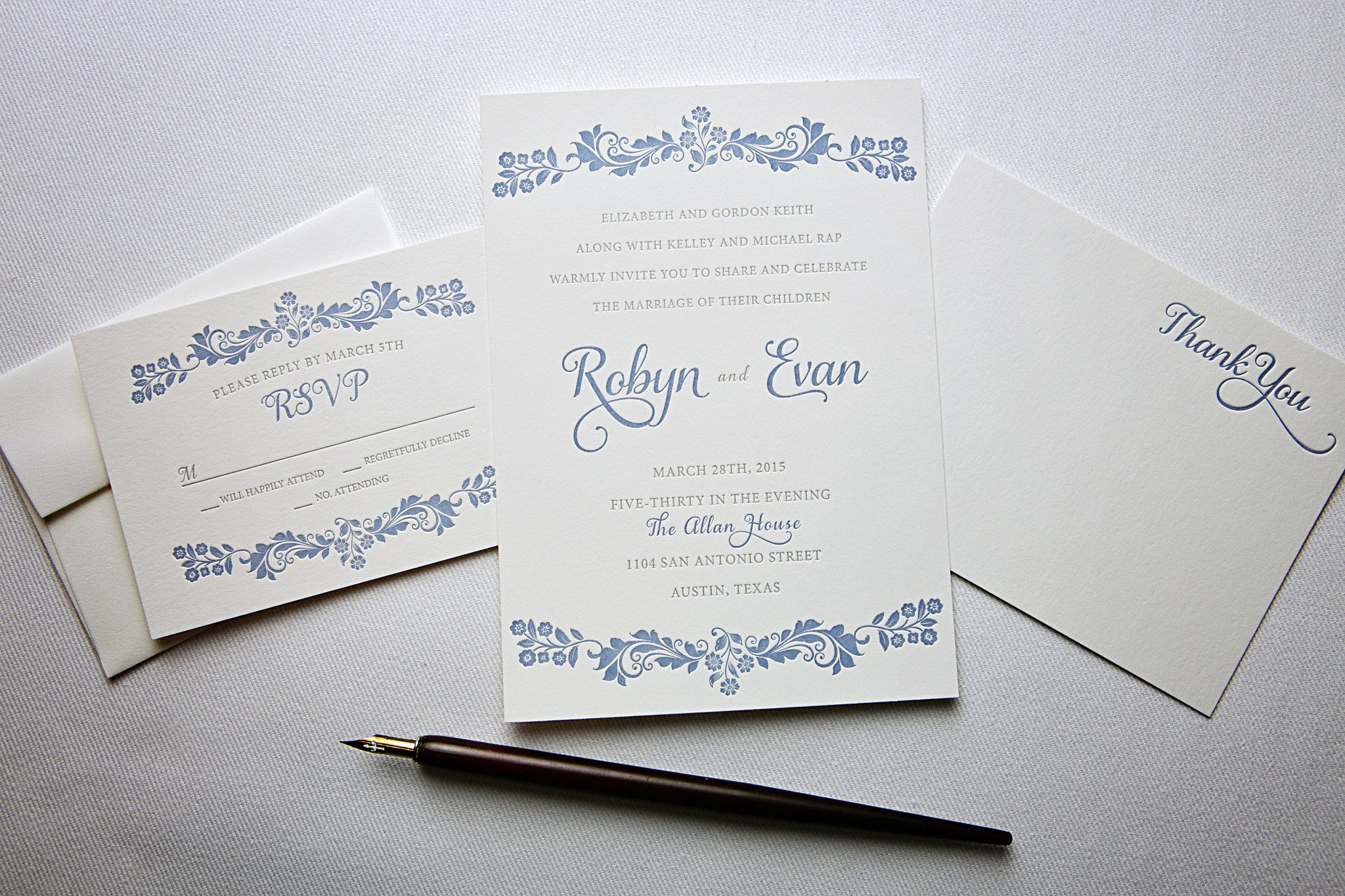 Custom Letterpress Wedding Invitations - Percolator Letterpress Co.