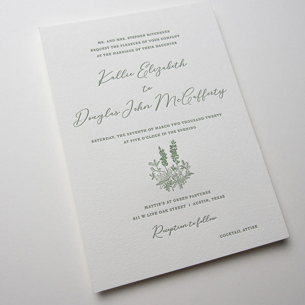 Bluebonnet Letterpress Invitations
