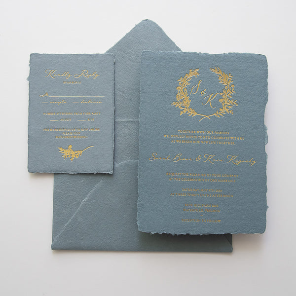 Deckle Edge Invitation in Slate Blue