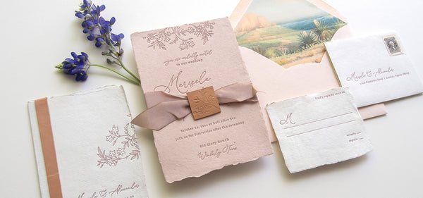 Deckle Edge Floral Blush Invitations