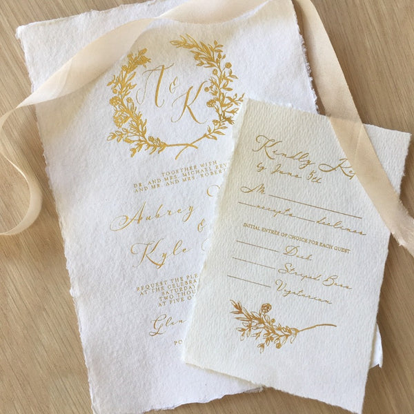 Letterpress wedding invitations and letterpress business cards in aust deckle edge handmade paper reheart Images