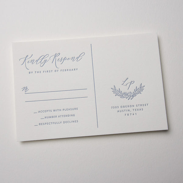 Branches and Hand Drawn Border Letterpress Invitations