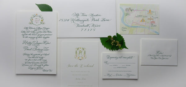 Watercolor Crest Letterpress Invitation