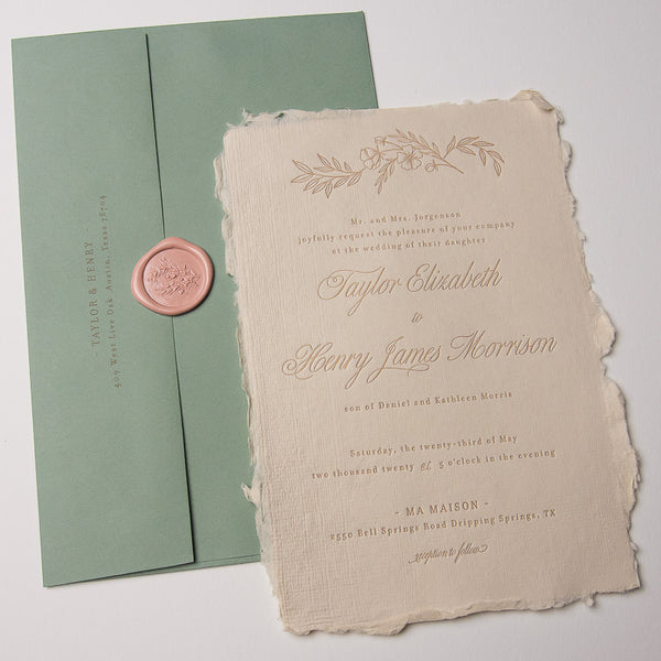 Deckled Edge Floral Accent Letterpress Invitations