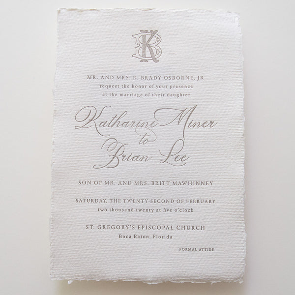 Deckle Edge Monogram Invitation