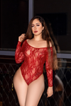 Red Lace Long Sleeve Bodysuit