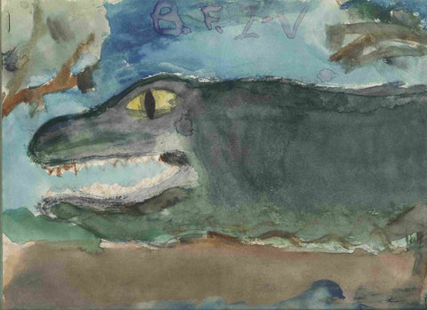 Alligator painted in the second grade by Rebecca M. Fullerton, Artist.
