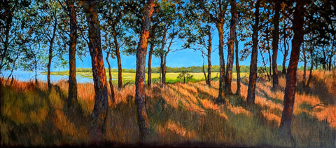 """Harvey's Point, Wellfleet, Mass."" 20x45 inch oil on canvas by Rebecca M. Fullerton, 2021. Part of ""A Room With A View"" at Gallery Twist, Lexington, Massachusetts, February 2021."