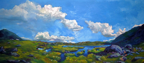 """Cloudsweep,"" oil on canvas, 20"" x 45"", 2016."