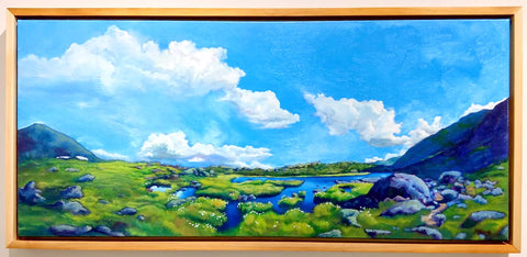 """Cloudsweep,"" oil on canvas, 20 x 45 inches, by Rebecca M. Fullerton"