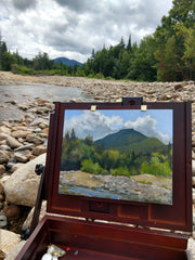 Painting by the river on Zealand Road, White Mountain National Forest, New Hampshire.