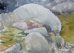 River rocks sketched along the Saco River in Crawford Notch, White Mountains, New Hampshire, by Rebecca M. Fullerton.