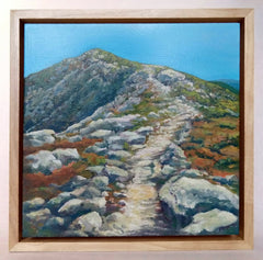 """Franconia Ridge Trail,"" a 10 by 10 inch oil on panel painting of the trail up Mount Lafayette in New Hampshire's White Mountains, in a sleek maple float frame."