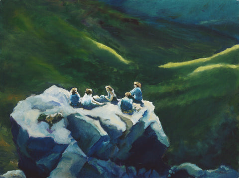 """Hiker's Rest,"" by Rebecca M. Fullerton. Original oil on canvas painting, 18x24"""