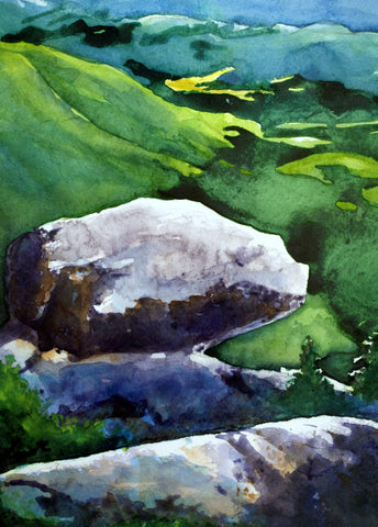 """White Rocks, Vermont,"" watercolor on paper, by R.M. Fullerton."