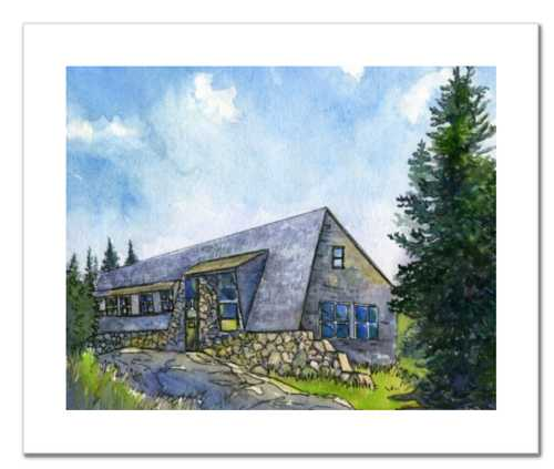 Appalachian Mountain Club Mizpah Spring Hut, White Mountain National Forest, White Mountains, New Hampshire. Fine art print of a watercolor painting. Gifts for hikers, backpackers, outdoor enthusiasts and hut fans.