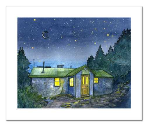 Appalachian Mountain Club Carter Notch Hut, White Mountain National Forest, White Mountains, New Hampshire. Fine art print of a watercolor painting. Gifts for hikers, backpackers, outdoor enthusiasts and huts fans.