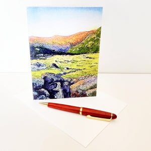 First Light, large blank greeting card. White Mountain National Forest, New Hampshire.