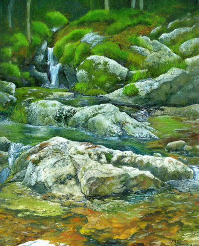 """A Corner of the Brook"" is a 16 by 20 inch oil on canvas painting by Rebecca M. Fullerton, depicting rocks, water, moss and light sparkling on a mountain stream."