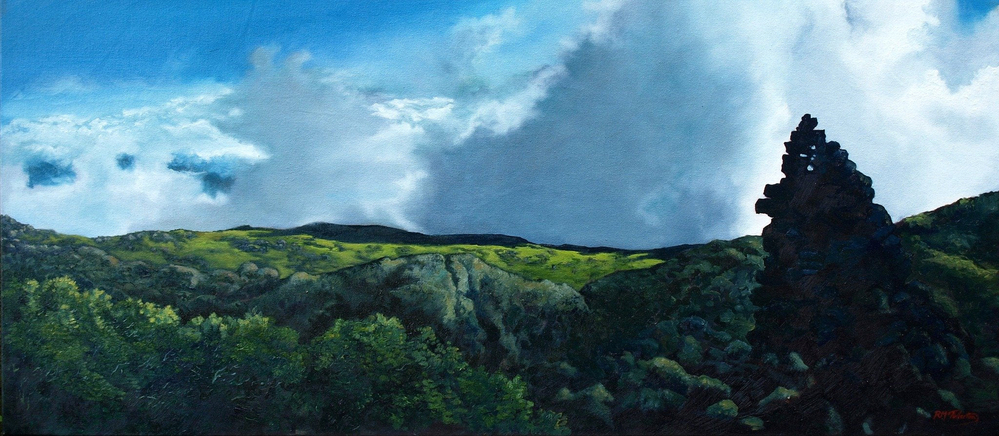 """Northern Undercast,"" original oil painting on canvas by artist Rebecca M. Fullerton. A view from the slopes of Mount Adams along the Gulfside Trail, Presidential Range, White Mountain National Forest, New Hampshire."