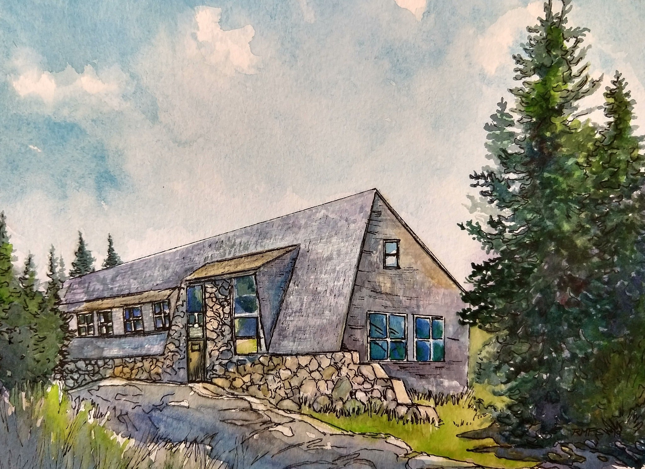 """Mizpah Spring Hut, White Mountains, NH,"" framed 9x6.6 inch watercolor and ink painting on paper (SOLD)"