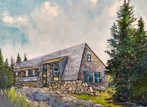 "Mizpah Spring Hut, White Mountains, NH,"" original watercolor and ink painting on paper"