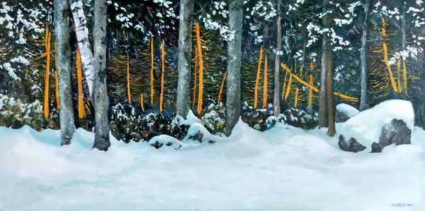 """Lights in the Trees"" is an 11.75 by 23.5 inch oil on wood panel painting by Rebecca M. Fullerton. It depicts trees at the edge of the snowy forest, some of which are light with the orange light of dawn. Snow dusts the tree limbs, shrubs, rocks and ground below."