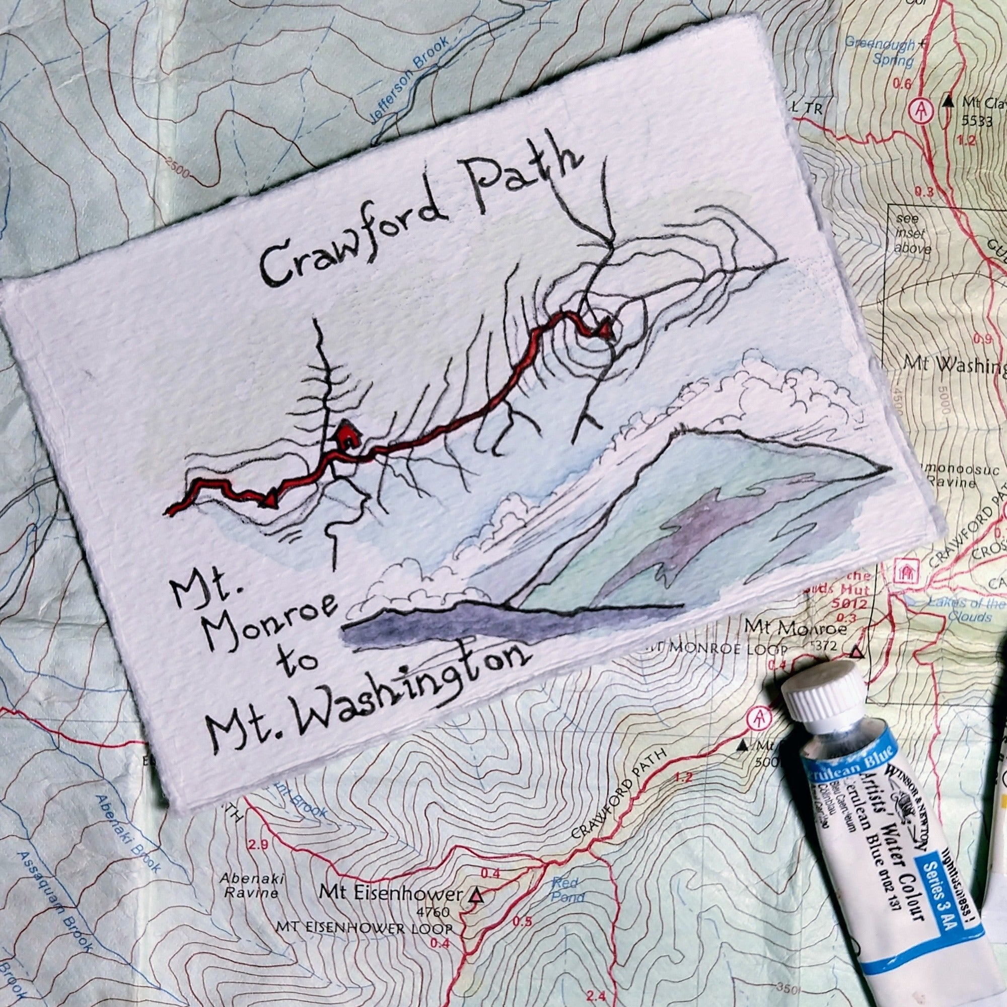 """Crawford Path: Mt. Monroe to Mt. Washington,"" one of my miniature map paintings. These small watercolor paintings are tiny artworks of my favorite trails in the White Mountains of New Hampshire, home of some of the Northeast's best hiking!"