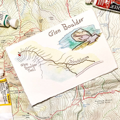 """Glen Boulder Trail,"" one of my miniature map paintings. These small watercolor paintings are tiny artworks of my favorite trails in the White Mountains of New Hampshire, home of some of the Northeast's best hiking!"