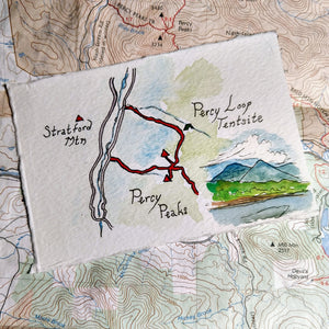 """Percy Peaks,"" one of my miniature map paintings. These small watercolor paintings are tiny artworks of my favorite trails in the White Mountains of New Hampshire, home of some of the Northeast's best hiking!"