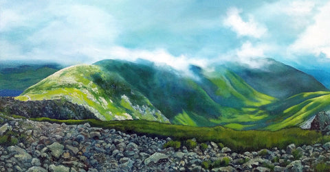 """Walking the Range,"" oil on canvas, 20 x 45 inches, by Rebecca M. Fullerton"