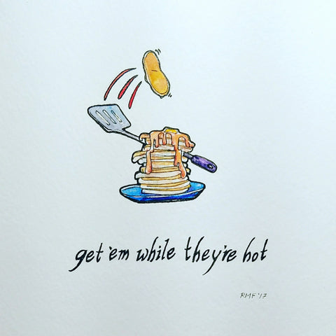 """Get 'Em While They're Hot,"" watercolor and ink on paper, 6 x 6 inch original graphic"