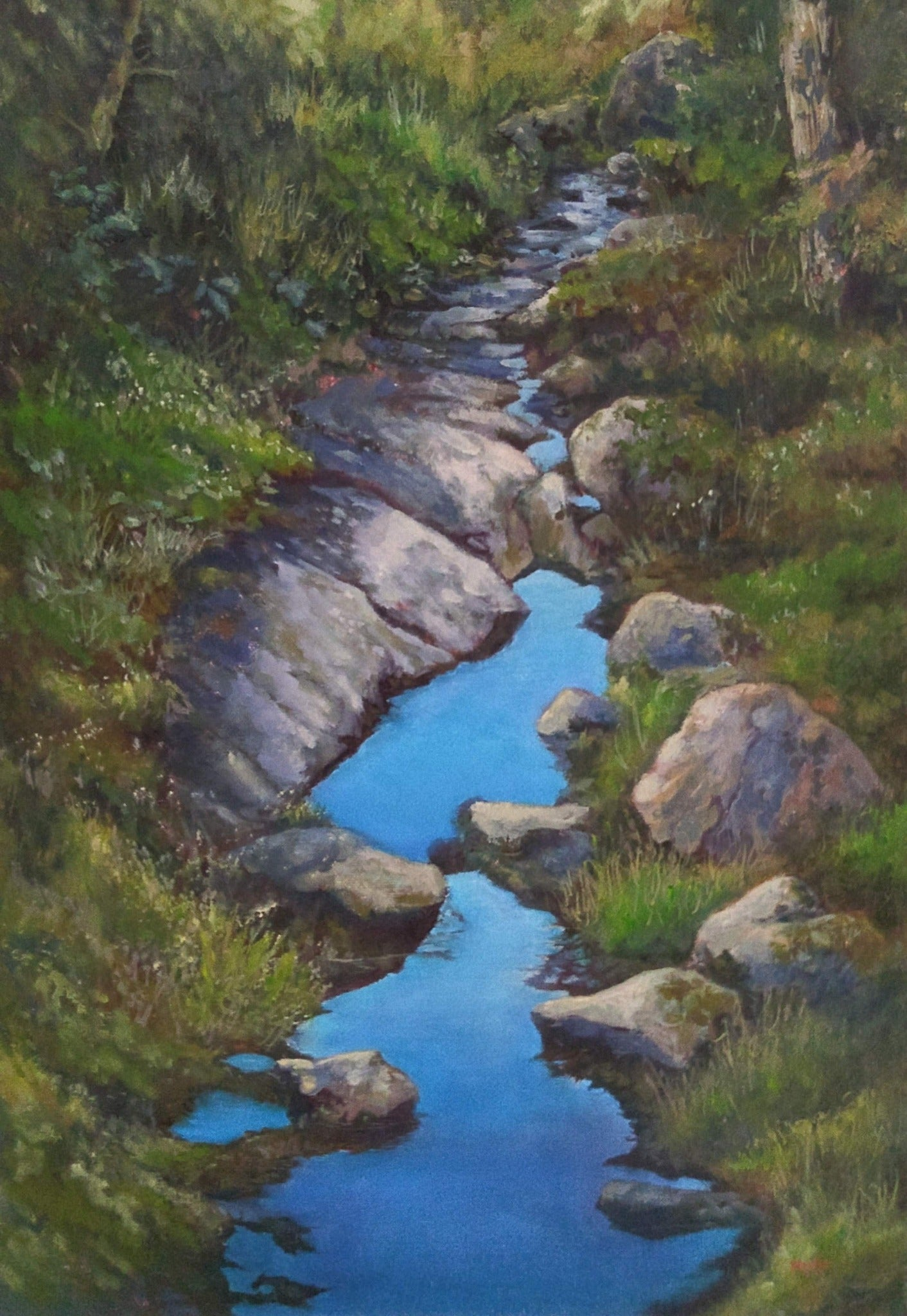 """Sky Along the Trail"" is an 14 by 18 inch oil on canvas painting by Rebecca M. Fullerton, depicting water reflecting blue sky on a mossy, treelined section of the Crawford Path near Mount Pierce in the White Mountain National Forest of New Hampshire."